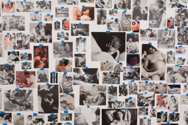 Carmen Winant - My Birth (2018) Found images, tape - Museum of Modern Art © Kurt Heumiller