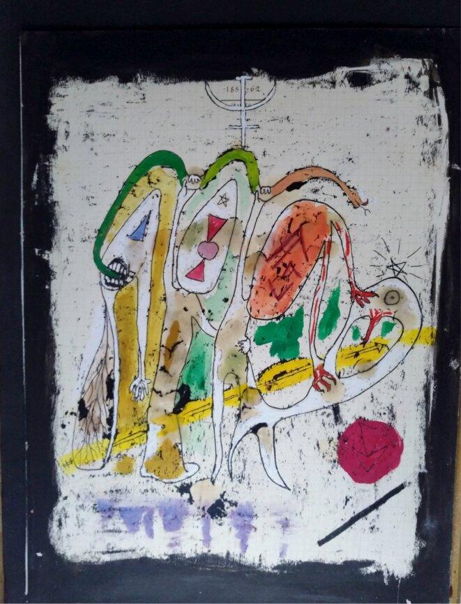 Claude Tarnaud, Sans titre, New York, années 1960 (encre, cire sur papier, 21×28 cm).