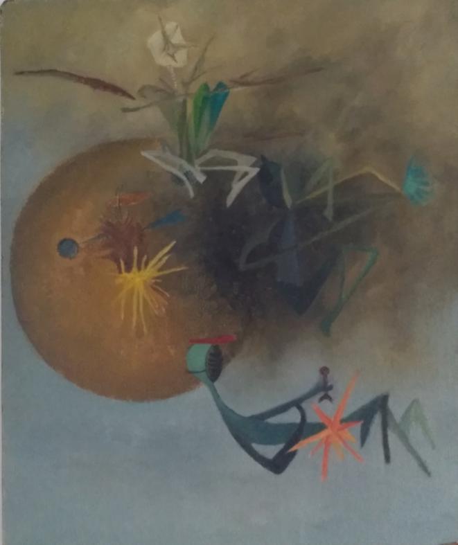 Henriette de Champrel et Claude Tarnaud, « Miles Davis », Mogadiscio, 1954 (huile sur carton entoilé, 54×65 cm, réalisée par Gibbsy d'après un dessin de Claude T.).