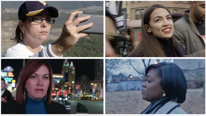 Las cuatro candidatas presentes en el documental de Rachel Lears. De izquierda a derecha: Paula Jean Swearengin, Alexandria Ocasio-Cortez, Cori Bush y Amy Vilela. © Knock Down The House/Kickstarter