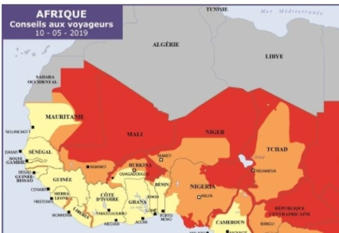 Carte des risques, ensemble de l'Afrique, détail : le 13 mai. La zone frontière du nord du Bénin est en zone rouge. Carte antidatée [capture d'écran YF]