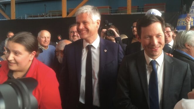 François-Xavier Bellamy et Laurent Wauquiez en meeting à Marck-en-Calaisis. © LD