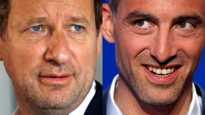 Yannick Jadot et Raphaël Glucksmann, respectivement têtes de liste d'EELV et de PS/PP pour les européennes. © Reuters