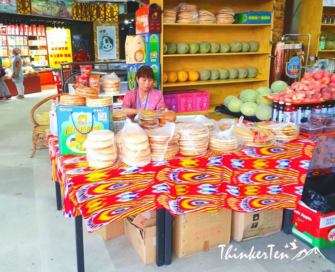 Le nouveau marché de naan ouïghours tenus par des vendeurs chinois. © ThinkerTen