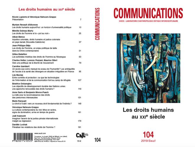 La couverture et le sommaire du numéro 104 de Communications