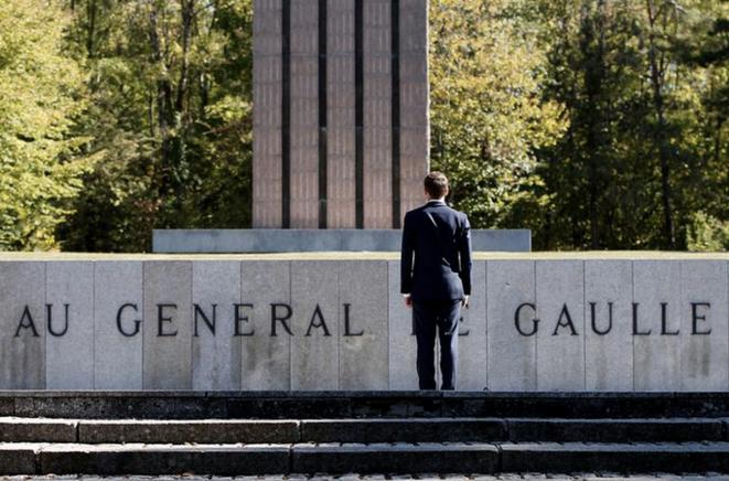 Emmanuel Macron à Colombey-les-Deux-Églises, le 4 octobre 2018. © Reuters