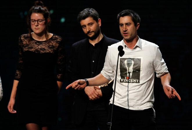 François Ruffin à la remise du César du meilleur documentaire, en 2017. © Reuters
