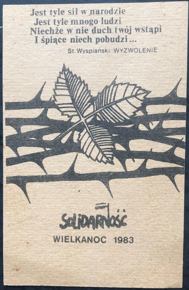 Carte offerte par des étudiants à l'Université de Varsovie en 1983 [coll. pers. YF]