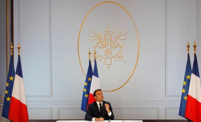 Emmanuel Macron à l'Élysée, le 25 avril 2019. © Reuters