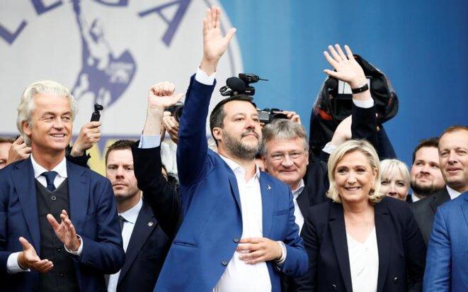 Le meeting commun des extrêmes droites européennes à Milan, le 19 mai. © Reuters