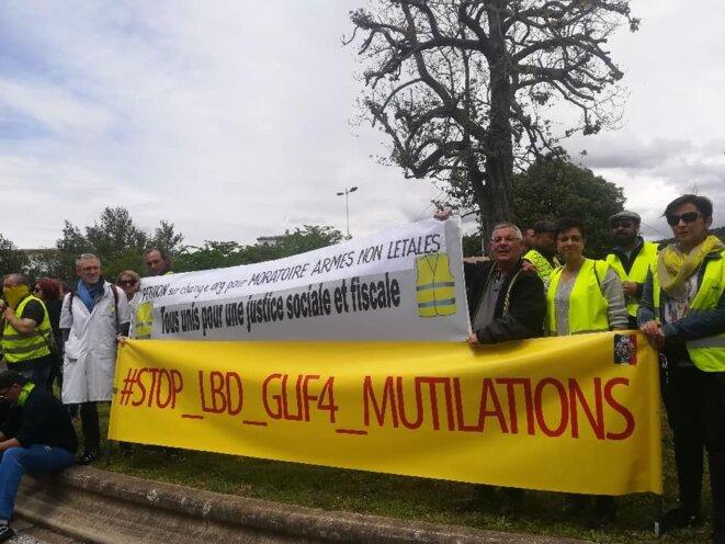 Le colectif article 35 dh et les Gilets Jaunes manifestent à Ales lors de l'acte 27 du mouvement. © Collectif article 35 dh