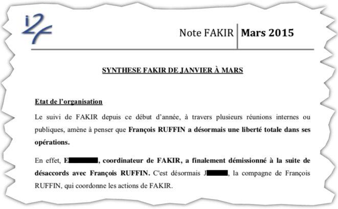 Extrait d'un rapport d'I2F sur François Ruffin et le journal «Fakir». © DR/Mediapart
