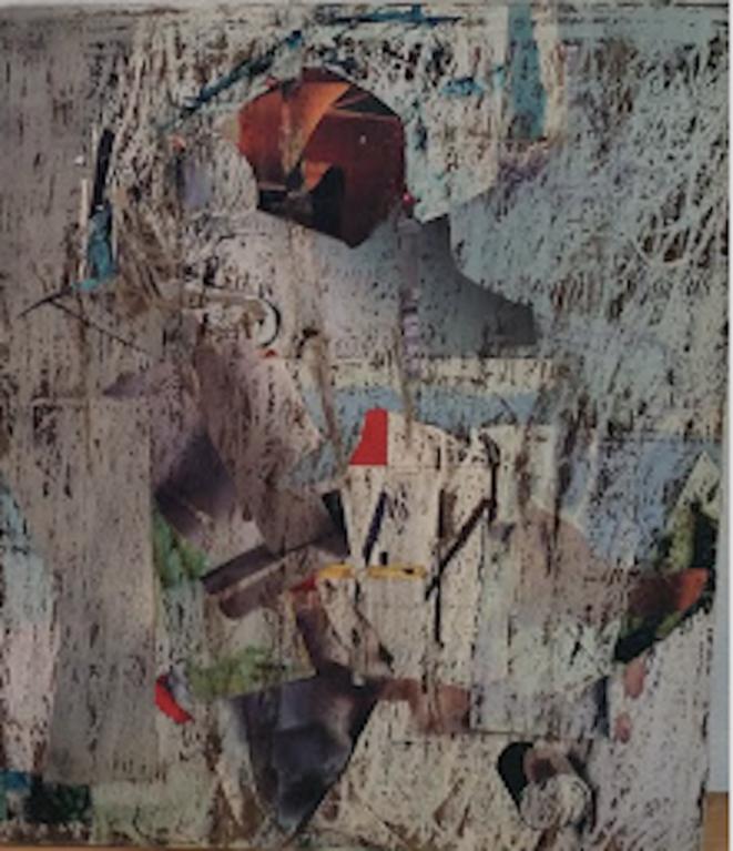 Henriette de Champrel, «Ici et là-bas», collage sur Placoplâtre (collage et encre et cire),1995, Salignan (Apt).