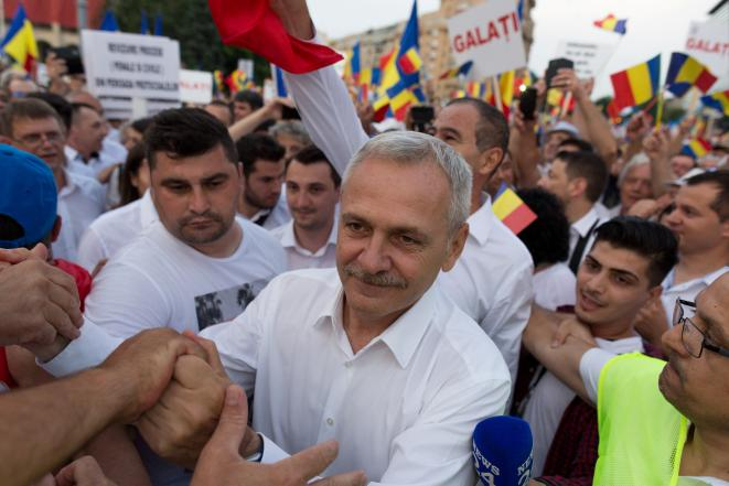 Liviu Dragnea, lors d'une manifestation à Bucarest le 9 juin 2018 © Reuters / Romania Out.