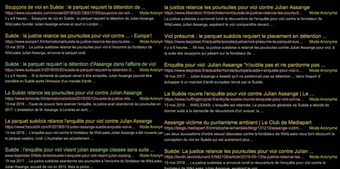"""Résultat recherche """"Assange, Suède, viol"""" du 20 mai"""