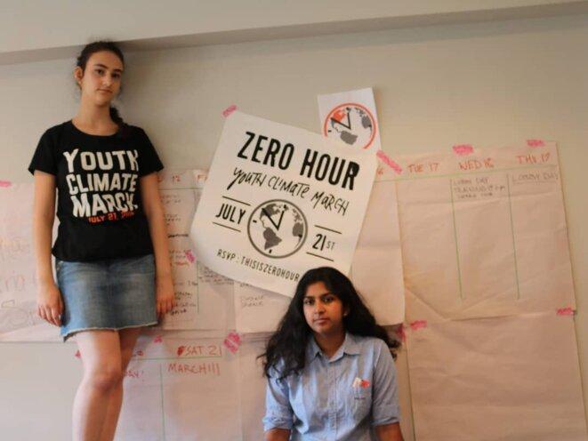Jamie Margolin et Nadia Nazar, à l'origine de la marche américaine des jeunes pour le climat, en juillet 2018. © Zero Hour