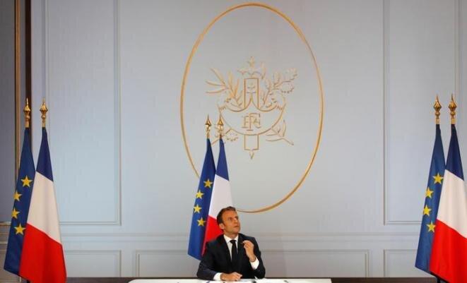 Emmanuel Macron en el Elíseo, el 25 de abril de 2019. © Reuters