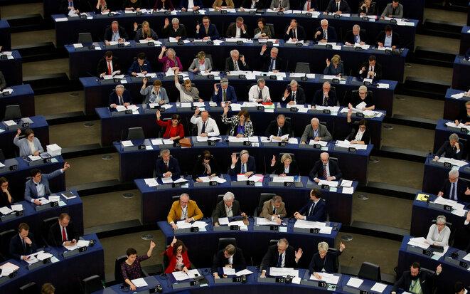 Sesión del Parlamento Europeo en Estrasburgo, el 26 de marzo de 2019. © Reuters/Vincent Kessler