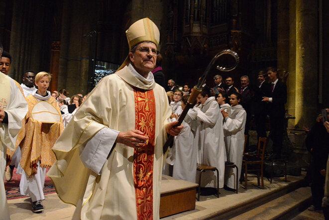 Cérémonie d'installation de Mgr Moulins-Beaufort, le 28 octobre 2018, en la cathédrale Notre-Dame de Reims. © Grégoire Colas / Diocèse de Reims