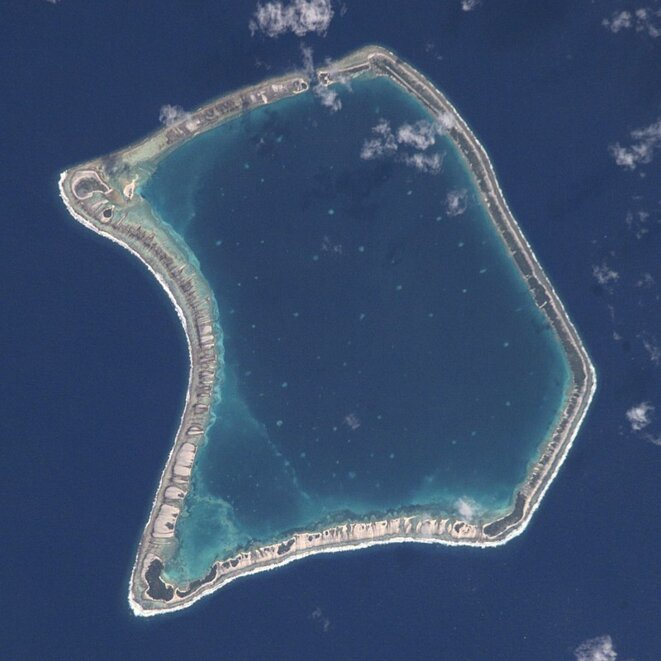 L'atoll de Fangataufa, lieu d'expérimentation atomique. © Wikipedia