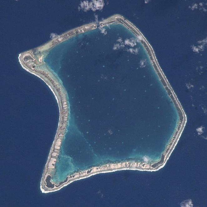 The Fangataufa atoll in French Polynesia, one of the sites of 193 French nuclear bomb tests in the South Pacific. © Wikipedia