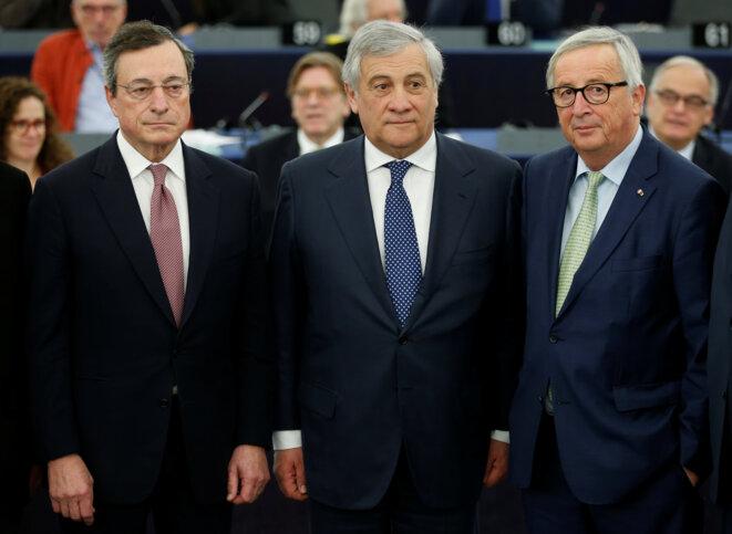 Mario Draghi, président de la BCE, Antonio Tajani, président du Parlement européen, Jean-Claude Juncker, président de la Commission européenne, pour le vingtième anniversaire du lancement de l'euro, en janvier 2019. © Reuters