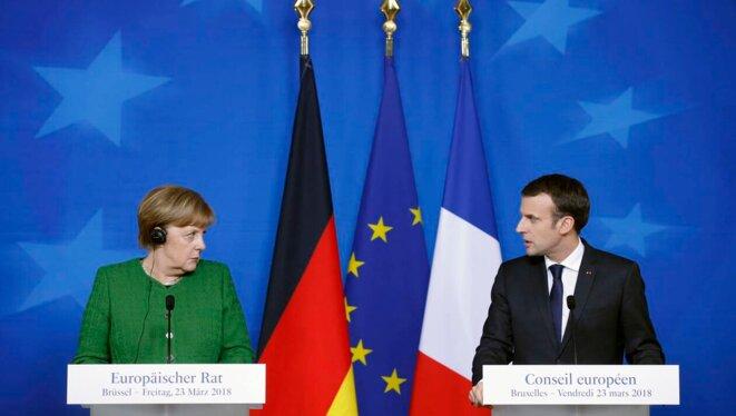 Angela Merkel et Emmanuel Macron lors du conseil européen de mars 2018. © Reuters