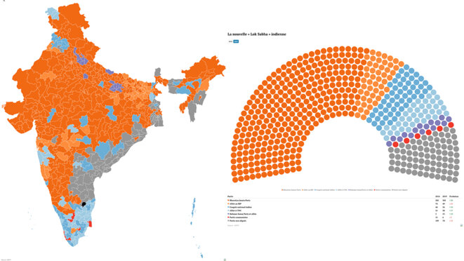 La carte des résultats et la nouvelle « Lok Sabha » indienne. © Mediapart