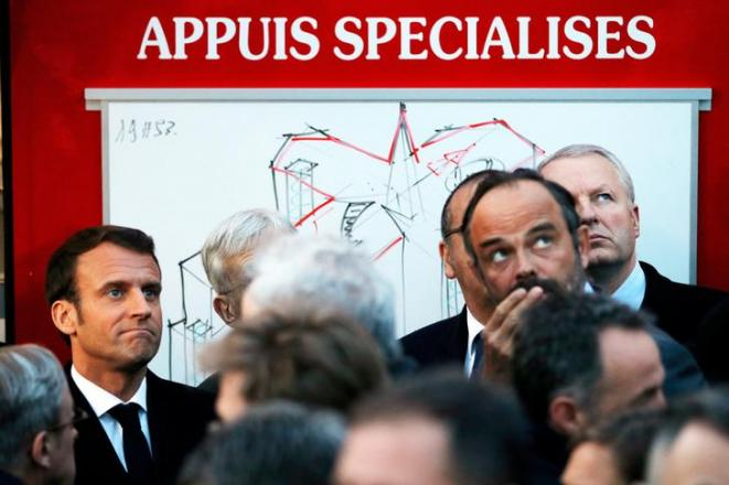 Emmanuel Macron, le soir de l'incendie de Notre-Dame de Paris. © Reuters