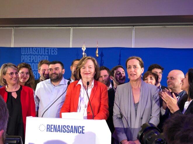Nathalie Loiseau, tête de liste pour la majorité, lors de la soirée électorale du 26 mai. © MJ