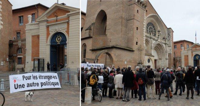 Manifestation devant la Préfecture de Haute-Garonne à Toulouse en mars 2017 lors de la remise au Préfet d'un rapport dressant la liste des maltraitances subies par les étrangers dans leurs démarches en préfecture [Photos YF]