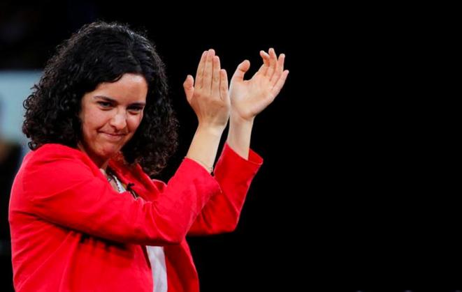 Manon Aubry (élue eurodéputée), lors d'un meeting de La France insoumise à Marseille, le 11 mai 2019. © Reuters