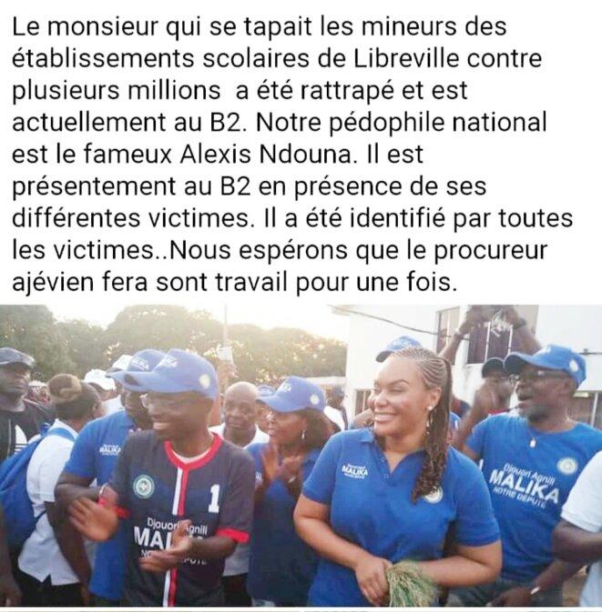 Alexis ndouna aux côtés de Malika Bongo (capture écran Facebook)