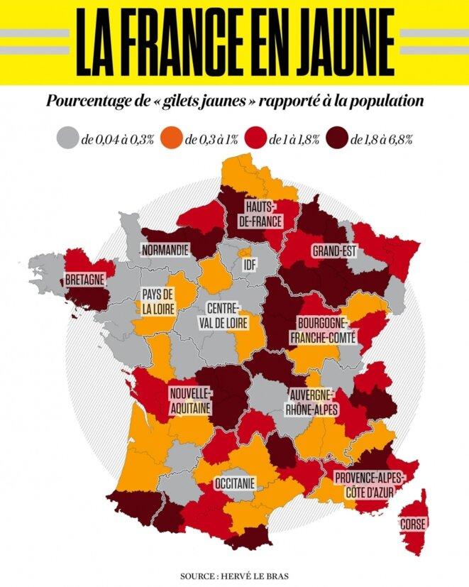 La France en jaune, par Hervé Le Bras © Hervé Le Bras