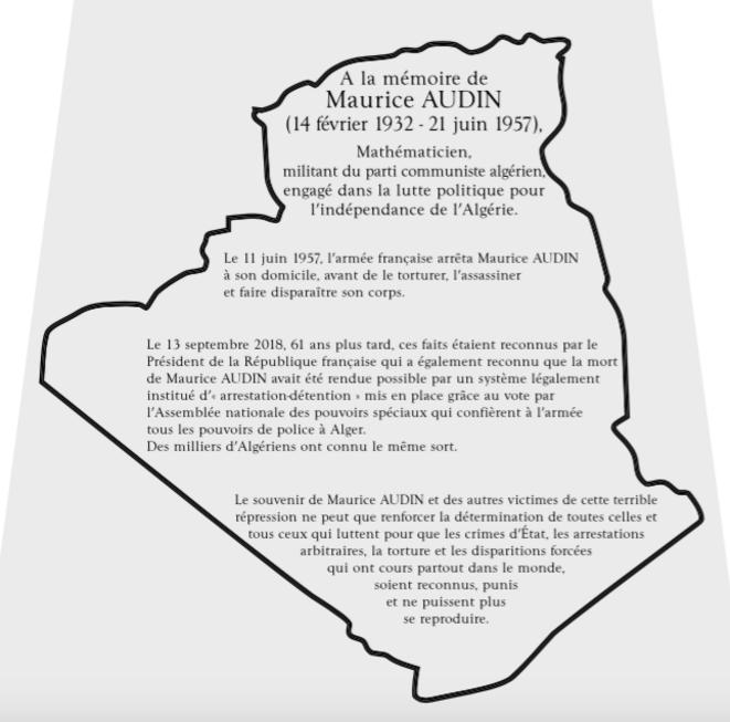 L'inscription qui sera gravée sur le cénotaphe, à l'intérieur d'une carte de l'Algérie, pour l'indépendance de laquelle Maurice Audin a combattu et est mort