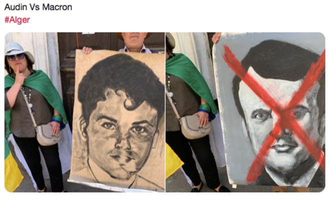 Portraits arborés par des manifestants à Alger,  le vendredi 10 mai 2019, place Maurice Audin