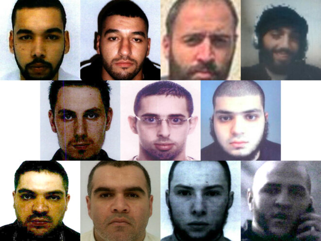 From left to right and from the top, 11 of the 12 condemned to death: Yassine Sakkam, Fodil Tahar Aouidate, Karam El Harchaoui, Bilel Kabaoui, then Kevin Gonot, Léonard Lopez, Mohamed Berriri, and finally Mustapha Merzoughi, Salim Machou and Brahim Nejara. © DR