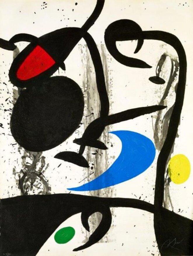 Le Grand triptyque noir, 1969.  © Successió Miró, Adagp Paris 2019. Photo Claude Germain Archives Fondation Maeght.