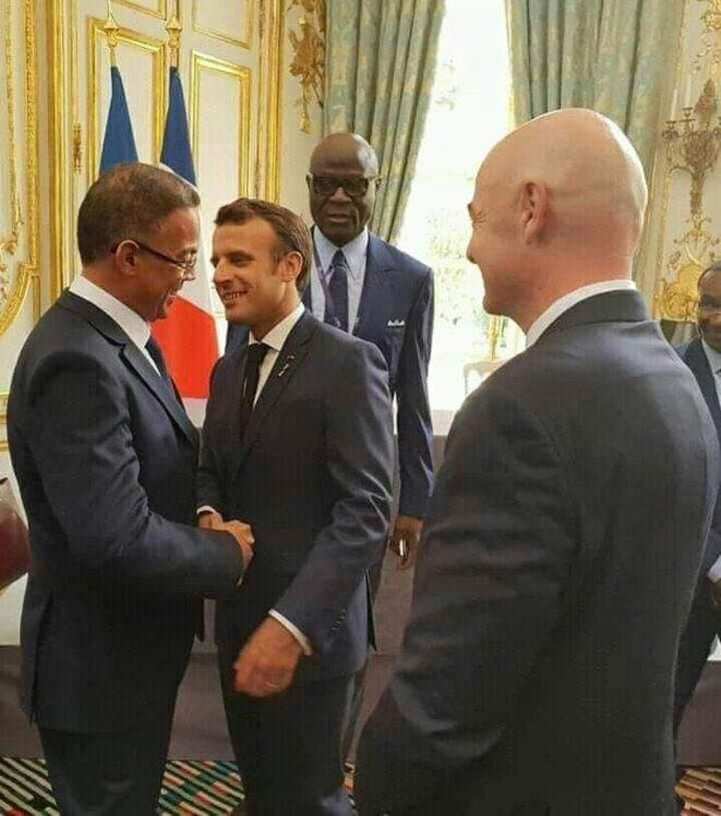 Fouzi Lakjaa président de la FRMF hier avec Emmanuel Macron