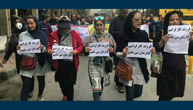 Les femmes en première ligne d'une manifestation ouvrière en Iran
