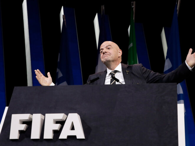 Infantino a été réélu par acclamation, à Paris, le 5 juin. © AP