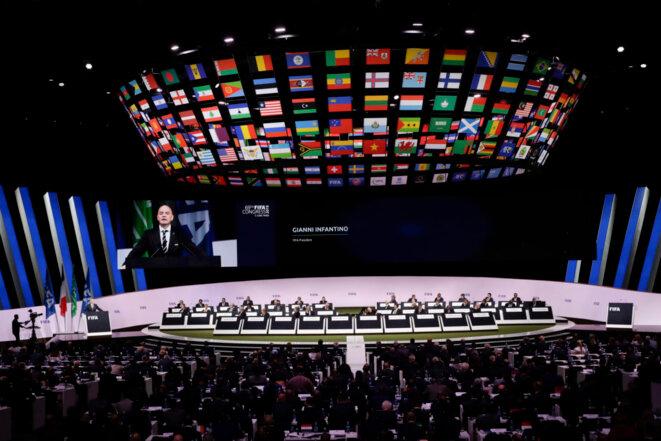 Infantino était le seul candidat à sa réélection © AP