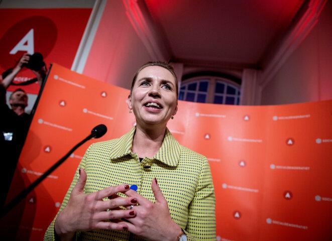Mette Frederiksen, cheffe du parti social-démocrate danois, après l'annonce des résultats, le 5 juin 2019. © Reuters