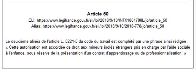 """Article 50 de la loi dite """"Asile et Immigration"""" du 10 septembre 2018, qui simplifie ce point de droit (capture d'écran sur le site Legifrance)."""
