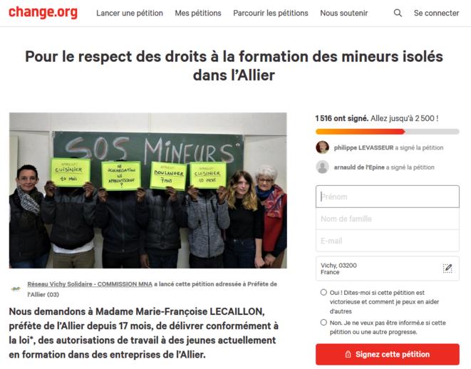 Capture d'écran de la pétition lancée par l'association Réseau Vichy Solidaire (sur le site change.org).