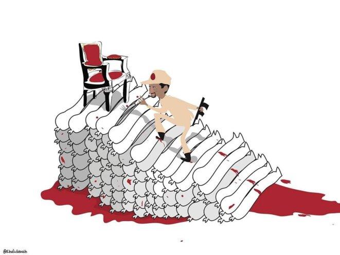 Hemetti grimpant les marches du pouvoir dans le sang. / caricature sur les réseaux sociaux.