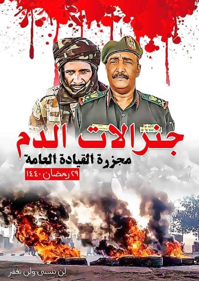 """Burhan et Hemetti, """"généraux du sang"""" - sous-titre : le Massacre de la Place d'Al-Qyada. / Réseaux sociaux."""