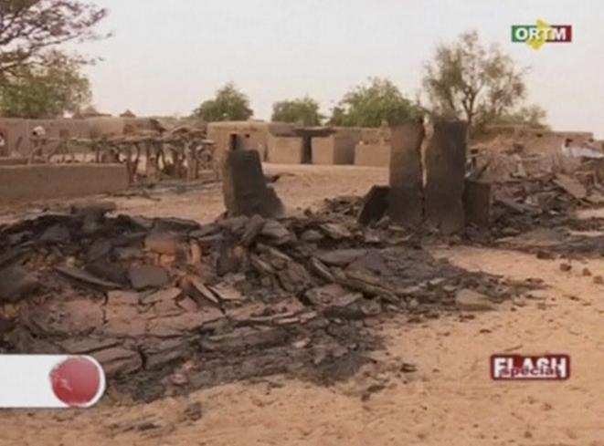 Capture d'un reportage diffusé sur l'ORTM le 10 juin 2019, dans le village de Sobame-Dah, dans le centre du Mali.