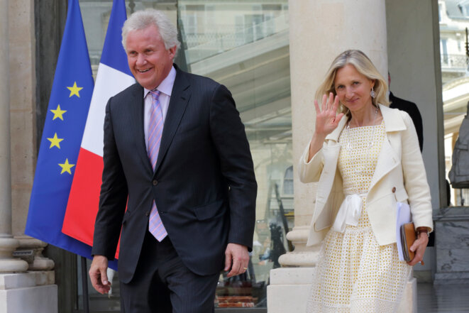Jeff Immelt, PDG de GE, et Clara Gaymard, présidente de GE France, à l'Élysée le 20 juin 2014. © Reuters