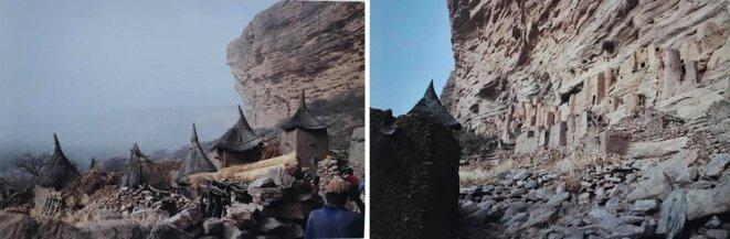 Villages au pied de la falaise de Bandiagara et anciennes habitations des Tellems, lieux de sépultures aujourd'hui.